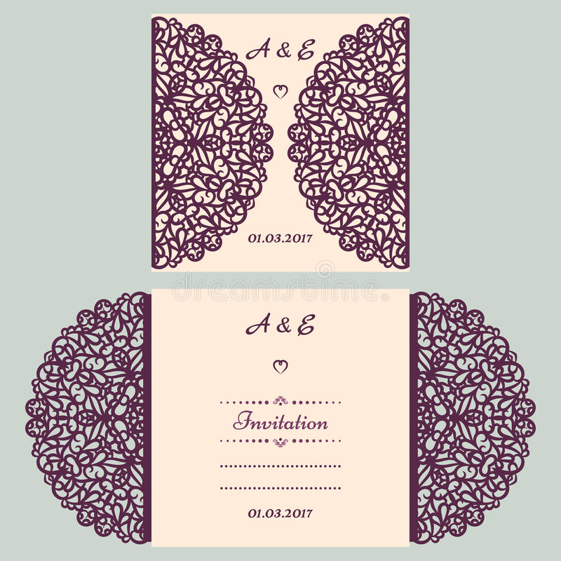 Die cut wedding invitation card template. Paper cut out card with lace. Beautiful laser cut invitation card for wedding royalty free illustration