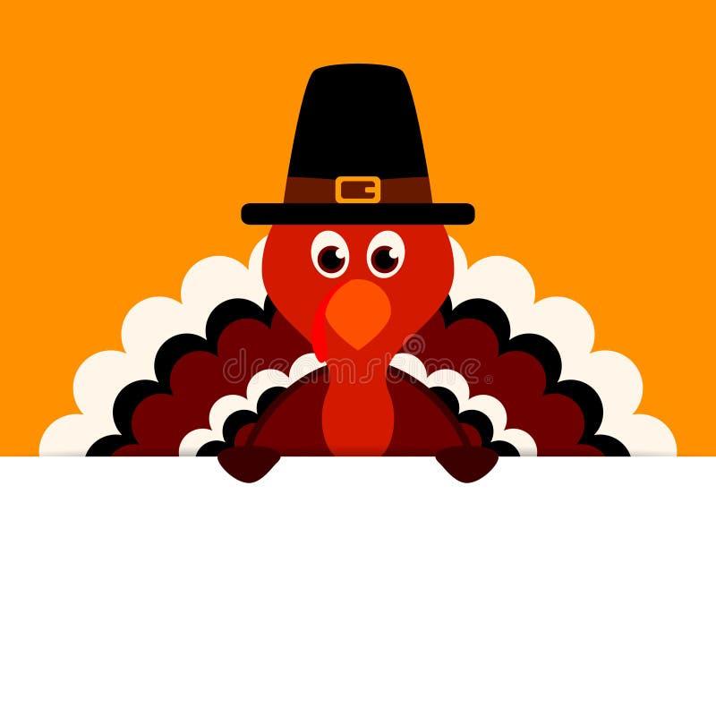 Die Danksagungs-Türkei-Pilger, der horizontale Fahnen-Orange hält lizenzfreie abbildung