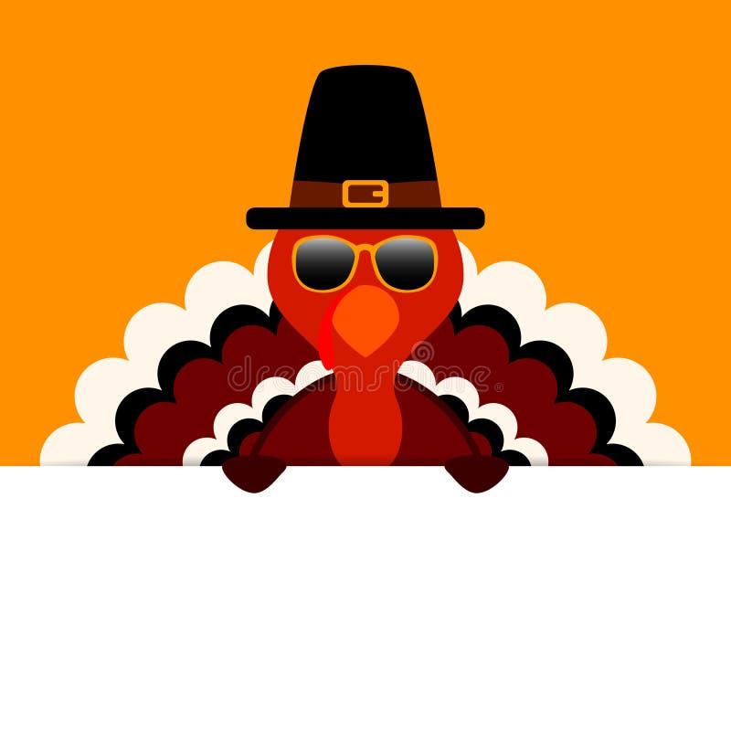 Die Danksagungs-Türkei-Sonnenbrille-Pilger, der horizontale Fahnen-Orange hält stock abbildung