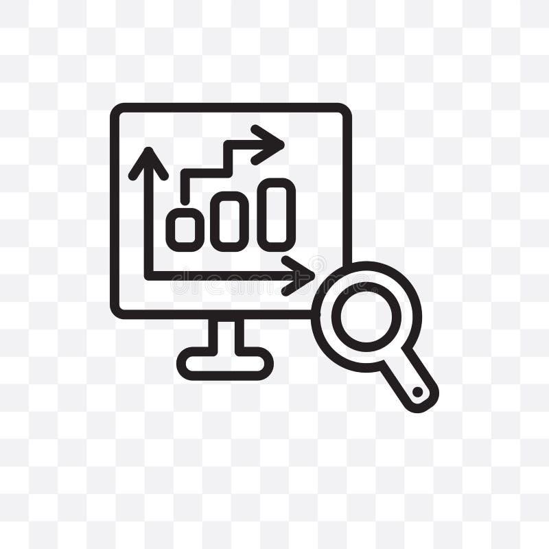 Die Datenbank, welche die lineare Ikone des Vektors lokalisiert wird auf transparentem Hintergrund, die Datenbank analysiert Tran lizenzfreie abbildung