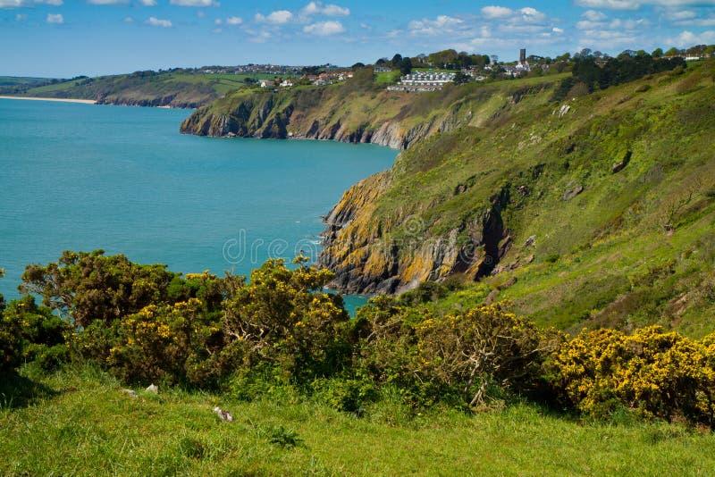 Die Devon-Küstenlinie, die in Richtung der Slapton Sande blickt stockbilder