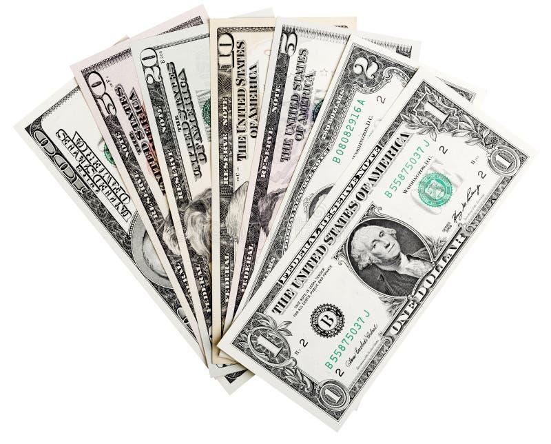 1, 2, 5, 10, 20, 50, 100 die dollarsbankbiljetten, op wit, het knippen inbegrepen weg worden geïsoleerd royalty-vrije stock fotografie
