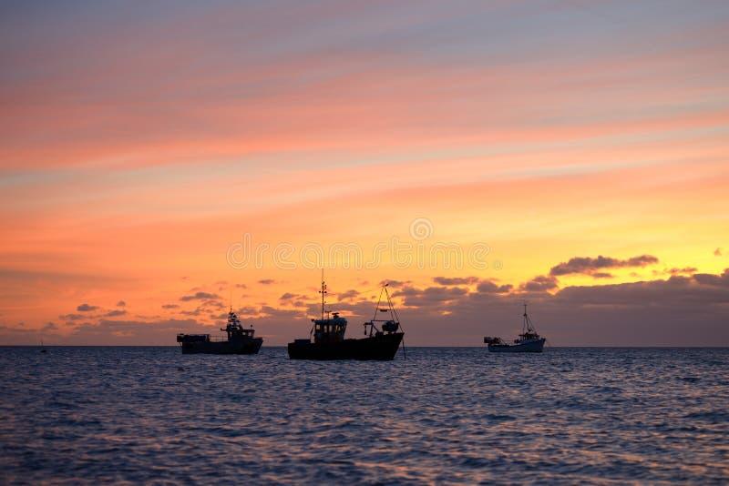 Die drei Boote stockfoto