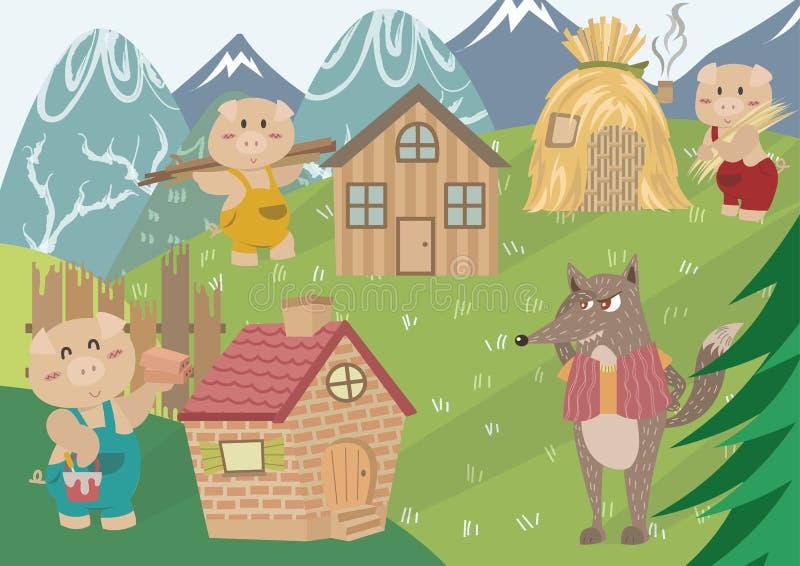 Die drei kleinen Schweine stock abbildung