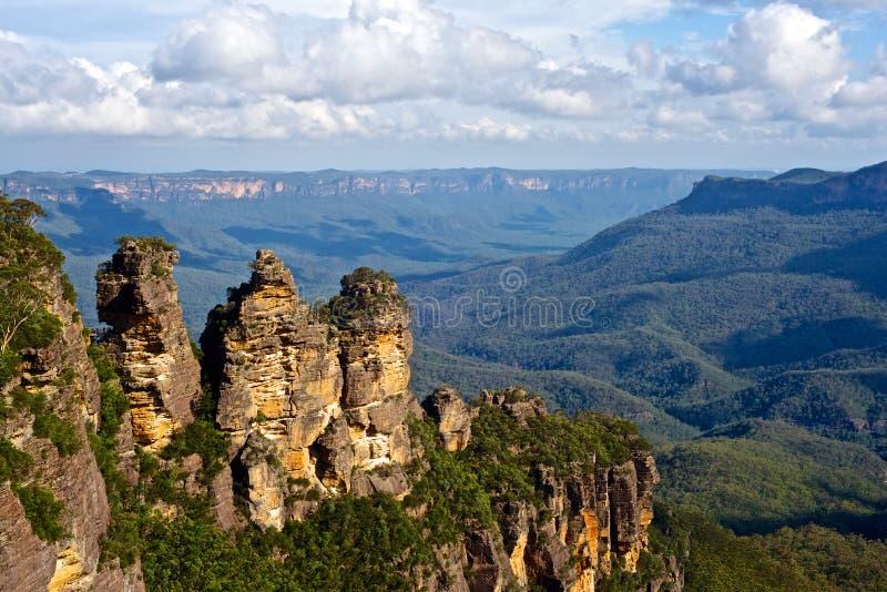 Die drei Schwestern, blaue Berge, New South Wales, Australien stockfotografie