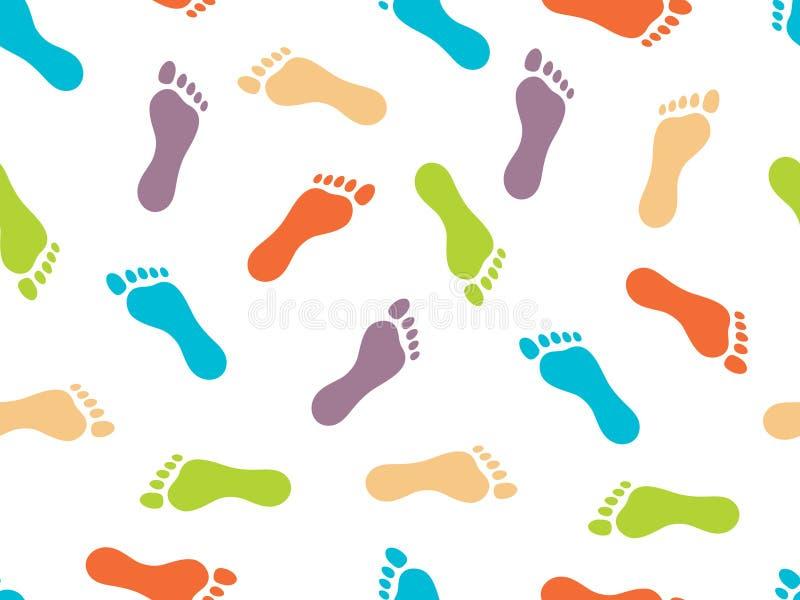 Die Drucke von bloßen Füßen auf weißem Hintergrund Nahtloses Muster Helles Farbbild Auch im corel abgehobenen Betrag lizenzfreie abbildung