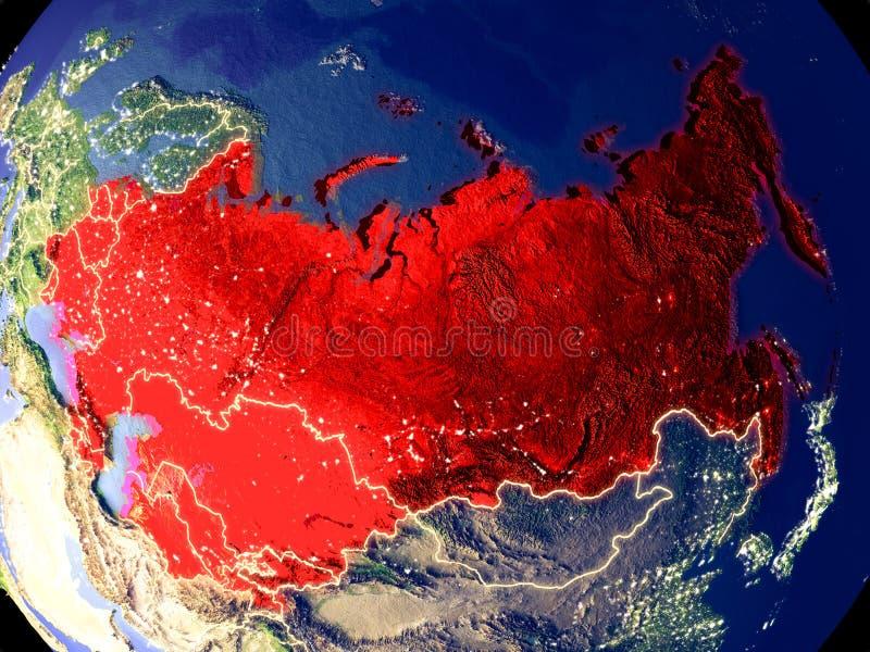 Die ehemalige Sowjetunion auf Erde nachts stockfotos
