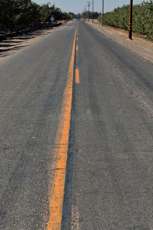 Die eindeloze weg in landbouwgrond stock foto