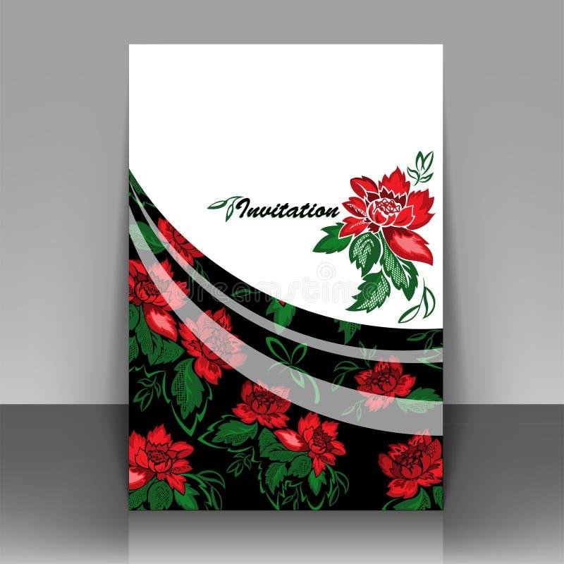 Die Einladung mit roten Blumen lizenzfreie stockbilder
