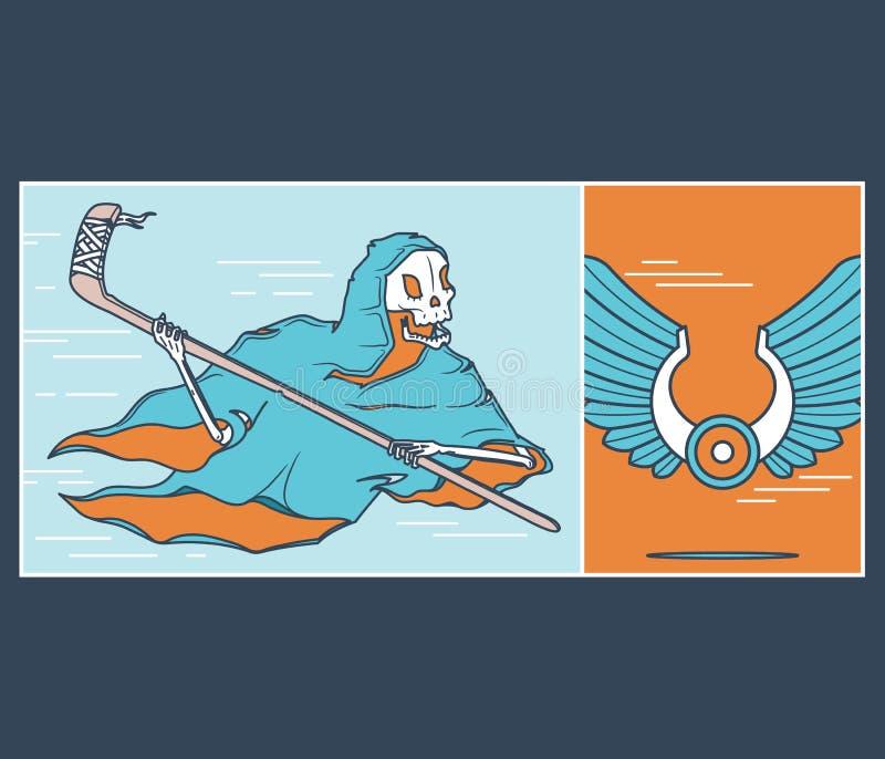 Die Eis-Hockey-Mähmaschine lizenzfreie abbildung