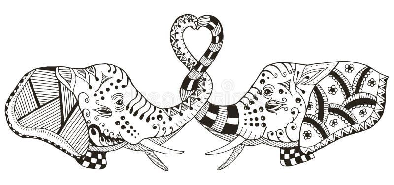 Die Elefanten, die Herz machen, formen mit Stämmen, das stilisierte zentangle, VE lizenzfreie abbildung