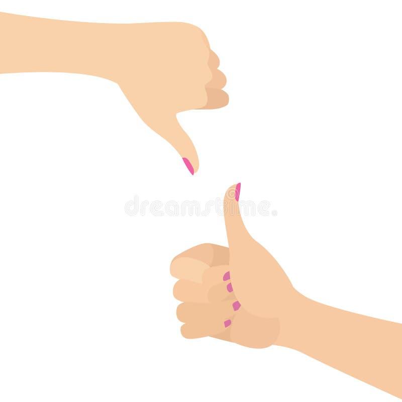 Die elegante Frauen-Hände, die wie gestikulieren und lehnen die flache Vektor-Illustration ab, die auf Weiß lokalisiert wird lizenzfreie abbildung