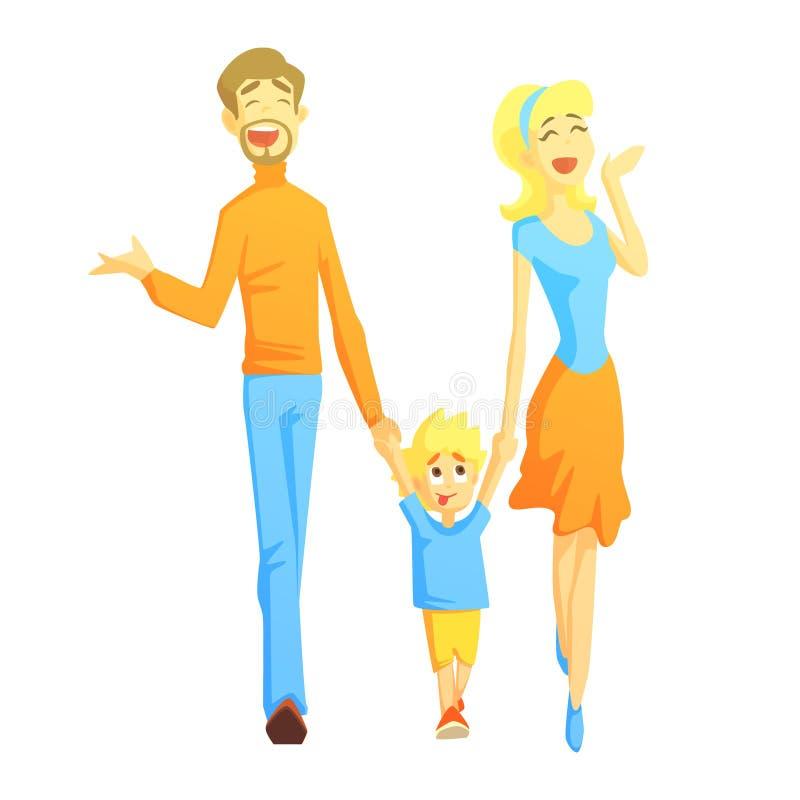 Die Eltern, die einen Spaziergang mit dem Sohn-Händchenhalten, glückliche liebevolle Familien mit den Kindern verbringen Wochenen stock abbildung
