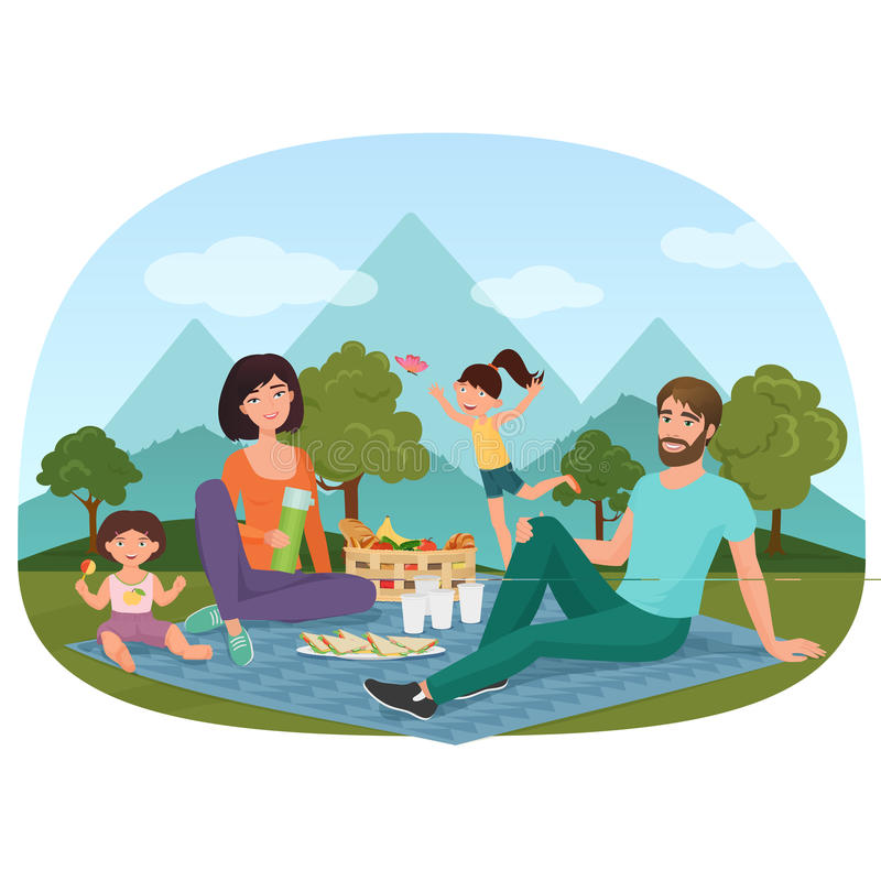 Die Eltern und Kinder, die ein Picknick außerhalb nahe der Berge haben, vector Illustration lizenzfreie abbildung