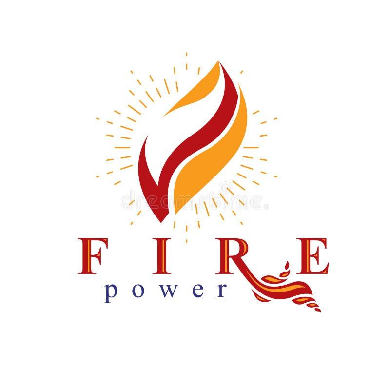 Die Energie der brennenden Flamme, Feuerelementzusammenfassungs-Vektorlogo für Gebrauch als Marketing-Entwurf vektor abbildung