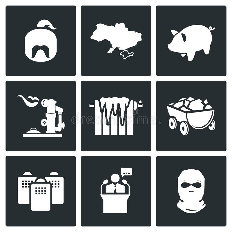 Die Energiekrise in den Ukraine-Vektor-Ikonen eingestellt lizenzfreie abbildung