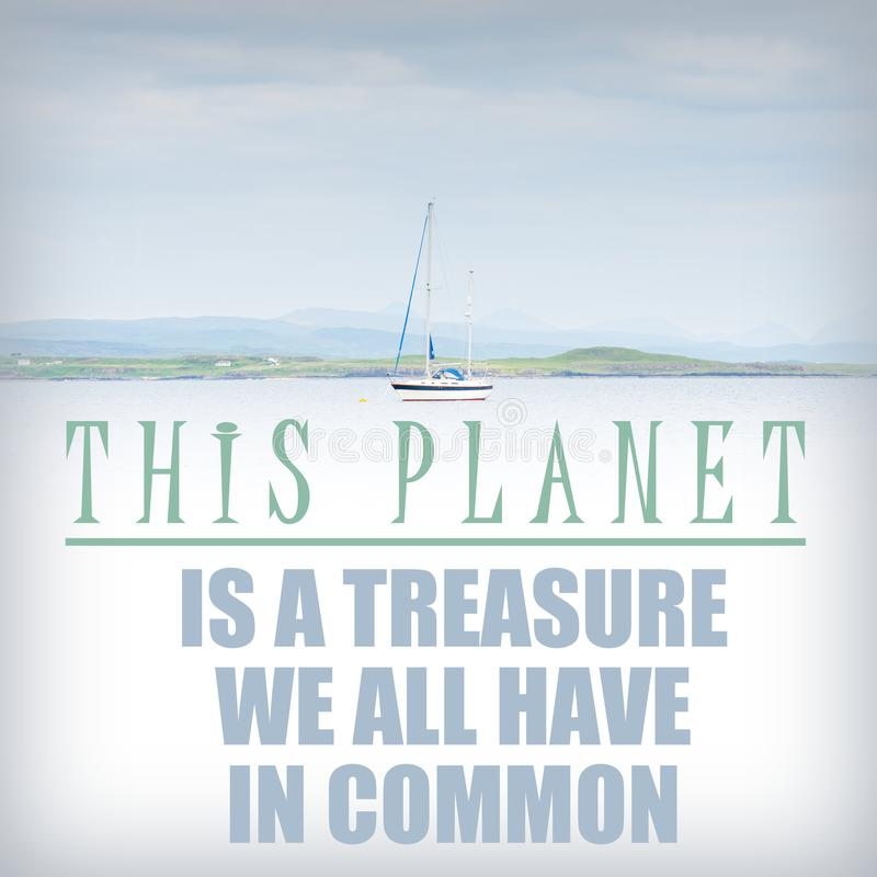 Die ERDE ist ein Schatz, den wir ganz gemeinsam haben - um den Planeten sich zu kümmern, retten Sie den Planeten, Ökologie ist di lizenzfreie stockfotos