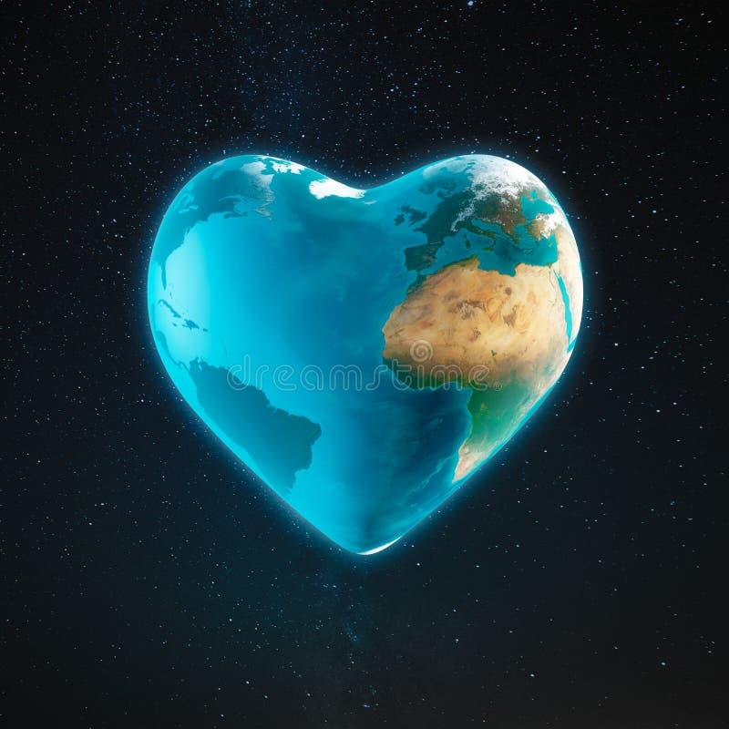 Die Erde mit Herzform lizenzfreie abbildung