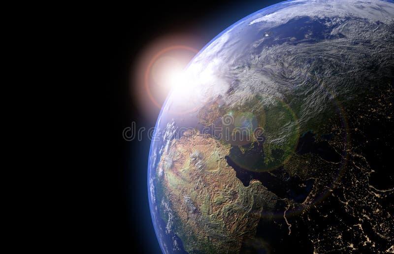 Die Erdkugel vom Raum, wenn das Gelände und die Wolken gezeigt werden Planeten-Erdansicht der hohen Aufl?sung 3d ?bertragen Abbil stock abbildung
