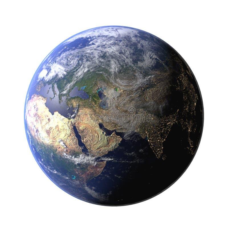Die Erdkugel vom Raum, wenn das Gel?nde und die Wolken gezeigt werden Planeten-Erdansicht der hohen Aufl?sung 3d ?bertragen Abbil vektor abbildung