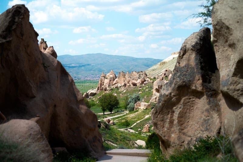 Die exotische Geographie von Cappadocia, Goreme, Turkey stockbild