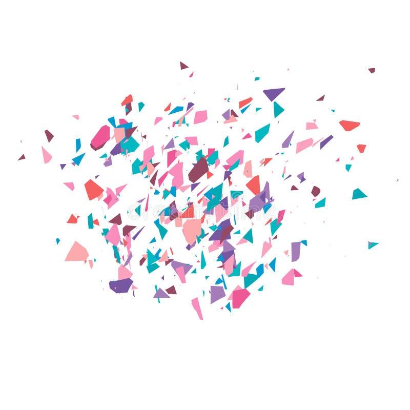 Die Explosion von mehrfarbigen Fragmenten Bunte Stücke des Vektors Scherben von Konfettis lizenzfreie abbildung