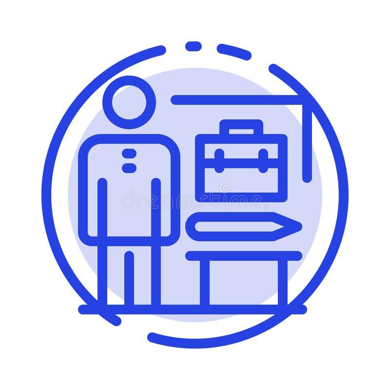 Die Fähigkeiten, vollendet, erzielen, Geschäftsmann-Blue Dotted Line-Linie Ikone lizenzfreie abbildung