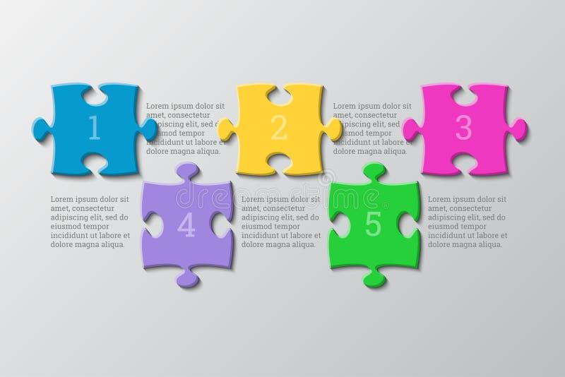 Die fünf Stücke verwirren Infographic Fünf Schritte stock abbildung