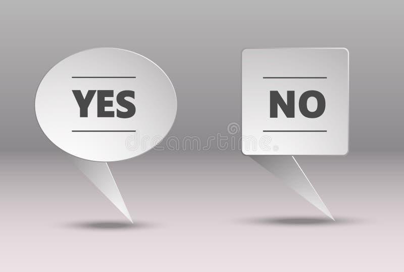 Die Fahne der Wörter ja und nein wird in der High-Techen Art gemacht Grauer Hintergrund, stilvoller Checkbox vektor abbildung