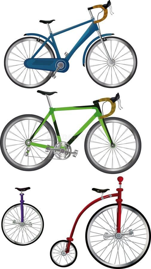 Die Fahrräder des kompletten Sets lizenzfreie abbildung
