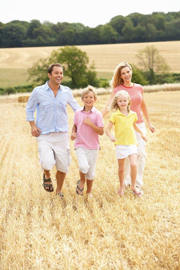 Die Familie, die zusammen durch Sommer läuft, erntete F stockbilder