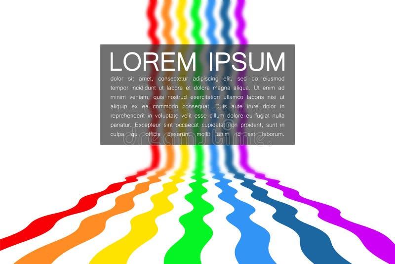 Die Farben des Regenbogens auf dem Horizont flossen über den weißen Hintergrund lizenzfreie abbildung