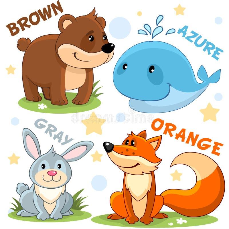 Die Farben sind schwarzer Schläger, gelbe Giraffe, grünes Krokodil, rote Krabbe Braunbär, azurblauer Wal, graues Kaninchen und Ha vektor abbildung
