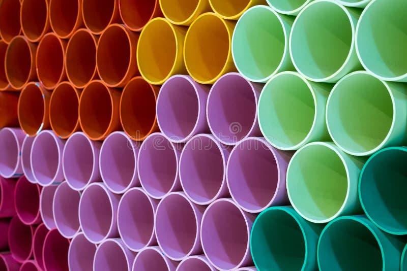 Die Farben und die Muster von PVC-Rohren lizenzfreie stockbilder