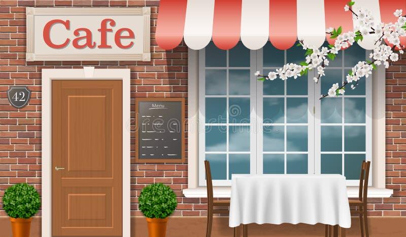 Die Fassade des traditionellen Cafés stock abbildung