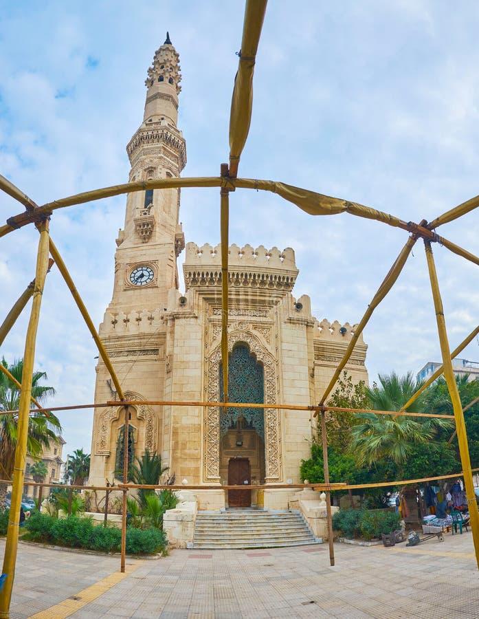 Die Fassade von Al Qaed Ibrahim Mosque, Alexandria, Ägypten stockfotografie