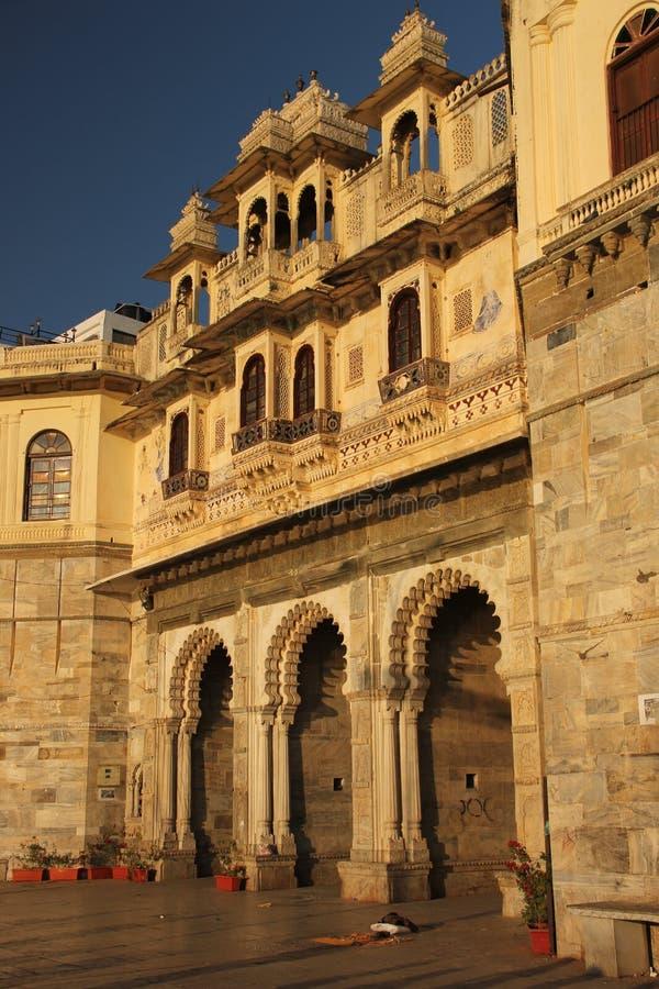 Die Fassade von einem Haveli stockfoto