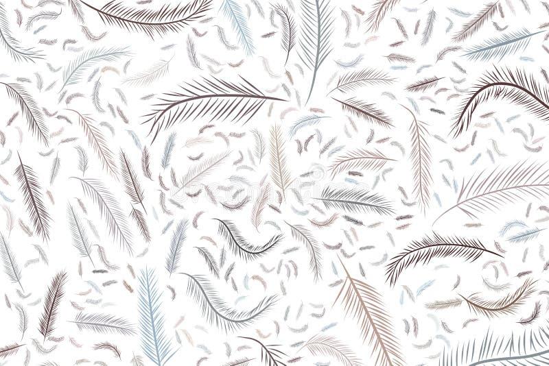 Die Federillustrations-Hintergrundzusammenfassung, Hand gezeichnet Natur, Zeichnung, Art u. Wiederholung stock abbildung