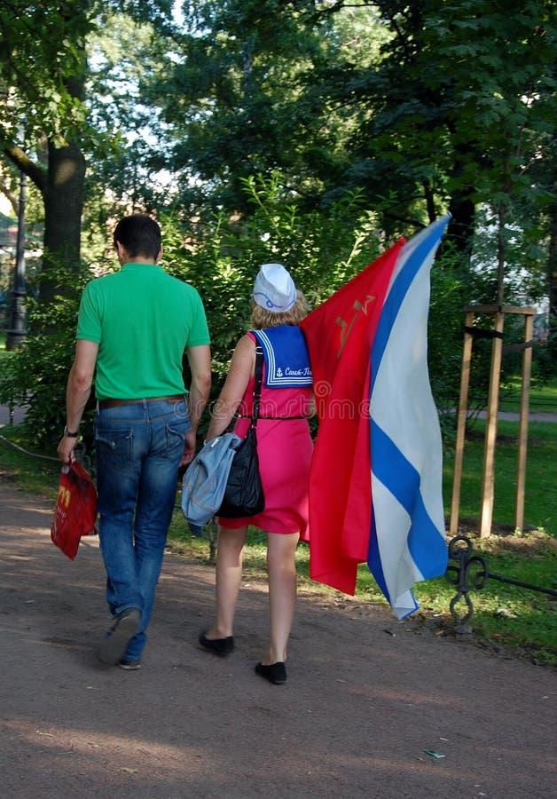 Die Feier des Marine-Tages in St Petersburg lizenzfreies stockbild