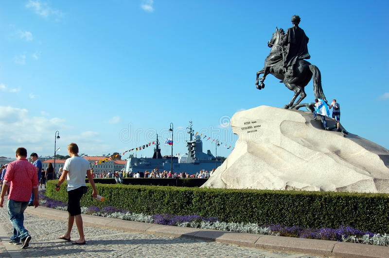 Die Feier des Marine-Tages in St Petersburg stockfotografie