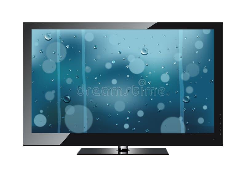 Die Fernseherscheinen ein Regen stock abbildung