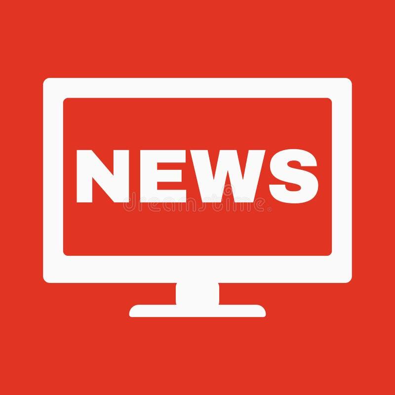 Die Fernsehnachrichtenikone Das Fernsehen und Fernsehen, telecasting, übertrugen Symbol flach lizenzfreie abbildung