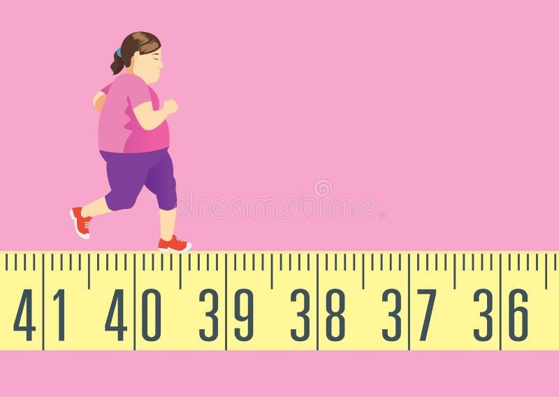 Die fette Frau, die auf Maßband für läuft, erhalten in Form und verlieren Gewicht lizenzfreie abbildung