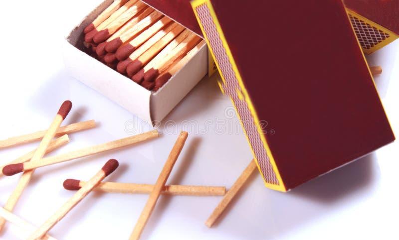 Die Feuerstöcke und die Matchkästen lizenzfreies stockbild