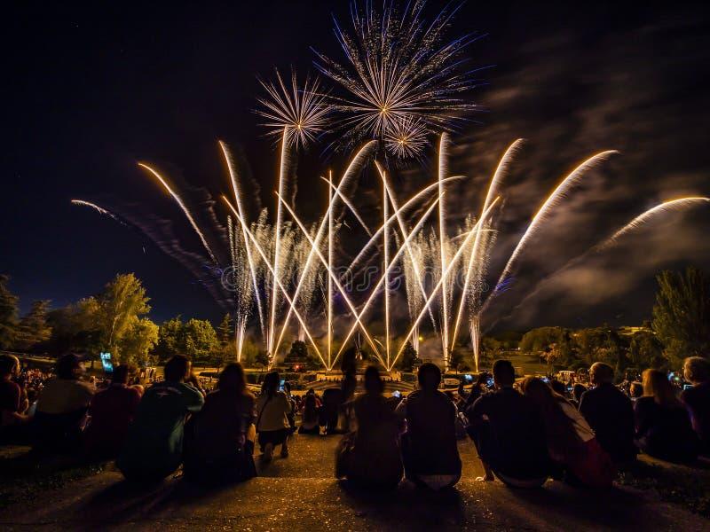 Die Feuerwerke mit Schattenbild des Publikums stockbilder
