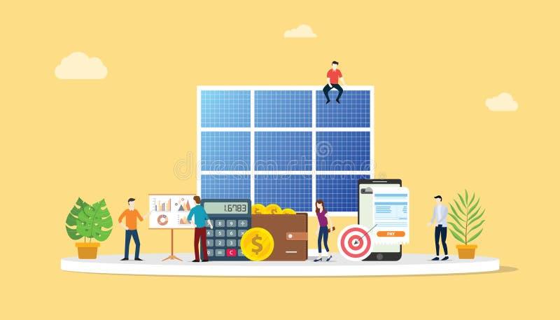Die Finanzalternative der elektrischen Einsparung des Sonnenkollektorenergiegeschäfts, die für billigere Lösungen mit Teamleuten  lizenzfreie abbildung