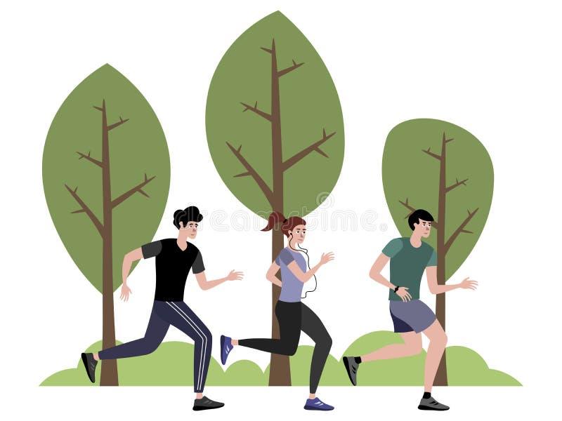 Die Firma von den Athleten, die im Park r?tteln Unbedeutende im Art Karikatur-flachen Vektor stock abbildung