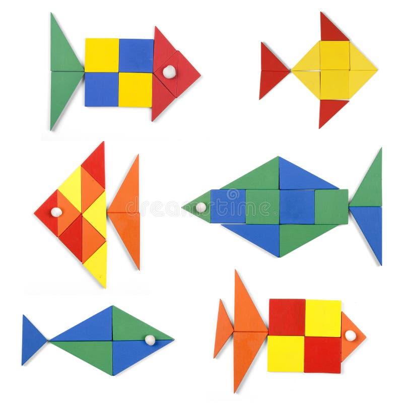 Die Fische eingestellt von den geometrischen Zahlen stockbilder