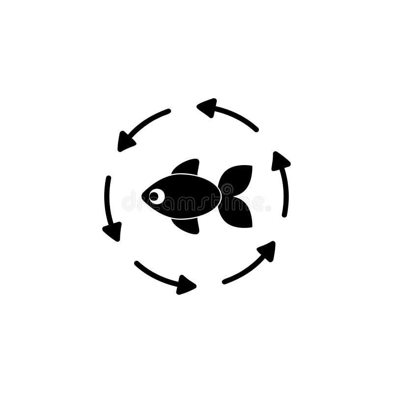 die Fische im Kreis der Pfeilikone Ausführliche Ikone von Ökologie unterzeichnet Ikone Erstklassiges Qualitätsgrafikdesign Ein de stock abbildung