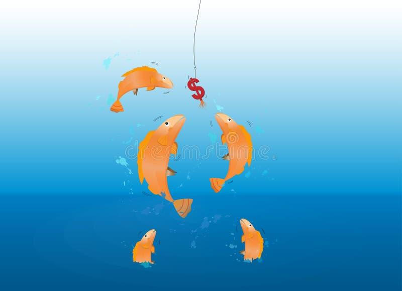 Die Fische springend über das Meer, das Dollarzeichenköder auf Metallhaken essend ergreift stock abbildung